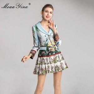 Image 3 - MoaaYina אופנה מעצב שמלת אביב סתיו נשים של שמלה ארוך שרוול הדפסת חרוזים טור כפתורים כפול קפלים שמלות