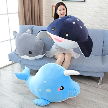 New Giant Funny Cartoon Whale Shark Plush Toy Soft Animal Doll Appease Cushion Gift For Children Girls Pillow Baby Birthday Gift loveyle super soft whale plush toy cartoon animal fish stuffed doll baby sleeping pillow cushion kid girlfriend christmas gift