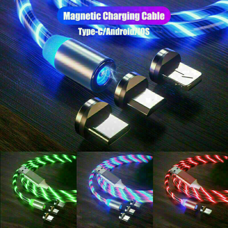 3IN1 LED Glowing Light Magnetic Type-C/Micro USB Charger Cable For Samsung Galaxy S10 Note A90 A40 For Android Magnet Cable