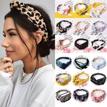Women Hair Accessories For Girls Fashion Headband Fabric Cross Knotted Bow Chiffon Floral Hair Band Korea Headdress Ladies Hoop