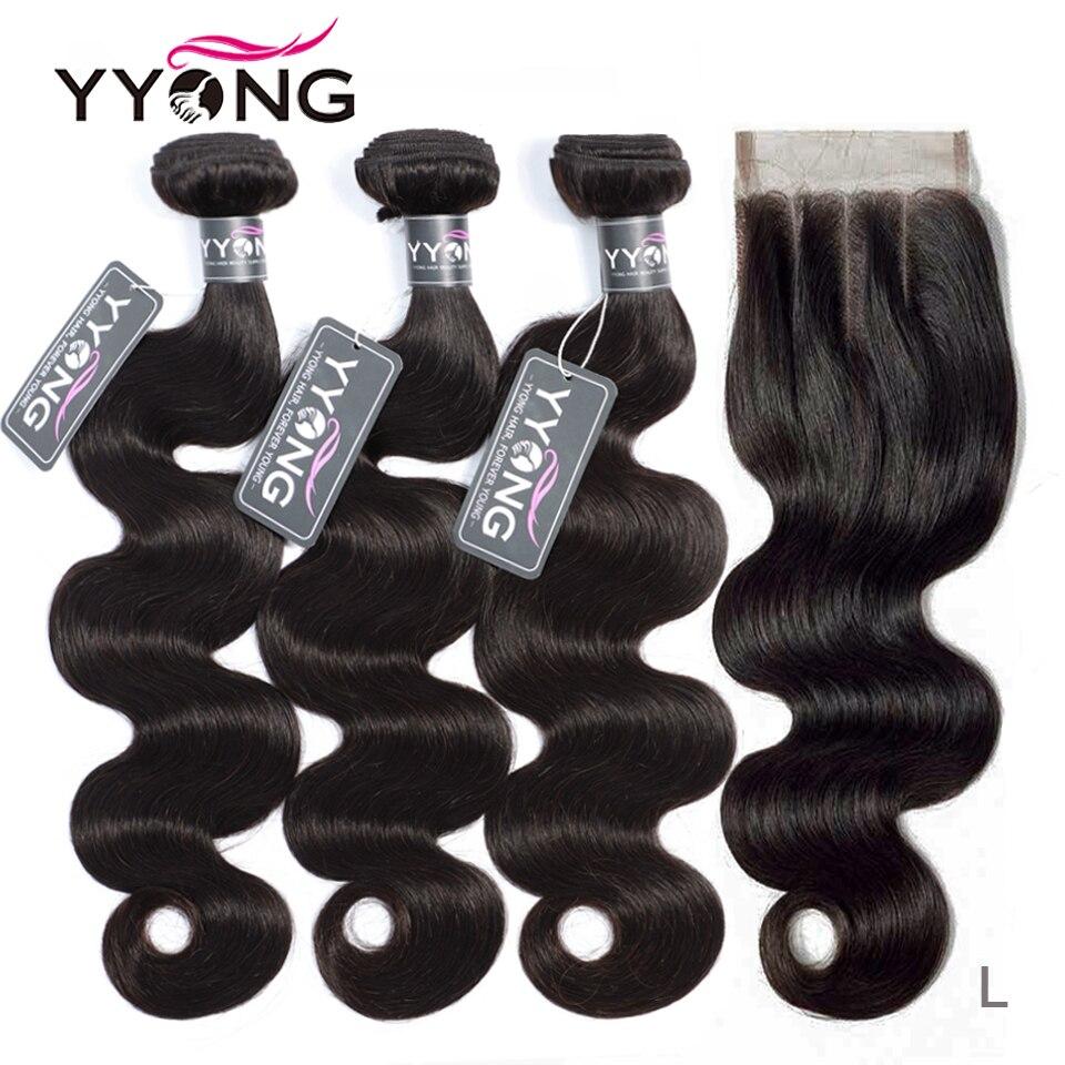 Yyong Hair-Bundles Closure Remy-Hair Body-Wave Peruvian with 4X4