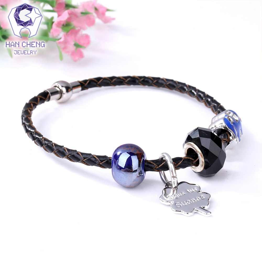 HanCheng New Boho Magnet Leather Rope Charm Bracelet Rhinestone Crystal Glass Beads Bracelets & Bangles for Women Jewelry Silver