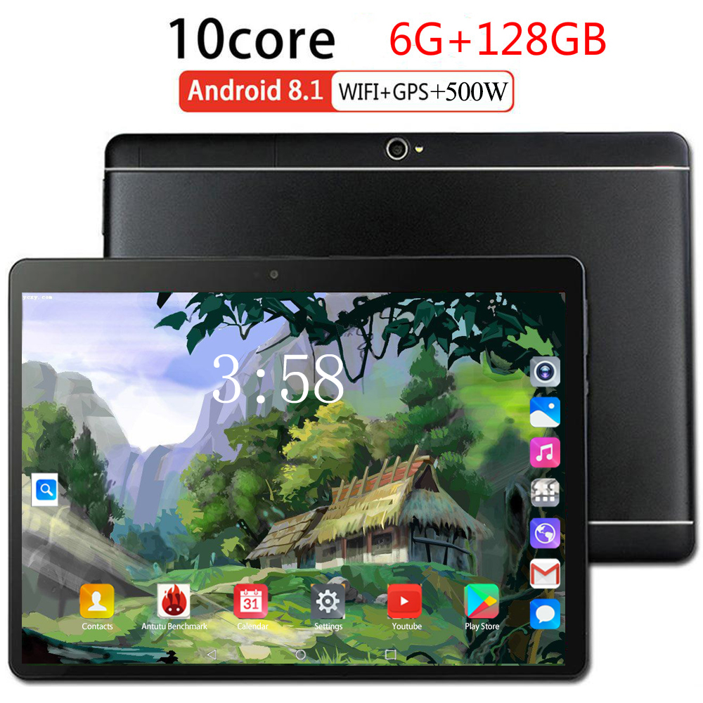 4G LTE 10.1 Inch Tablet PC Android 9.0 6GB RAM 128GB ROM Octa Core 8 Cores Dual Cameras 5.0MP 1280 800 IPS Phone Tablets MTK6753
