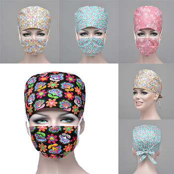 Hot Sale Adjustable Women Men Hospital Scrub Cap Lab Unisex Surgical Caps Dental Clinic Nurse Doctor Hats Masks Set Hair Cover