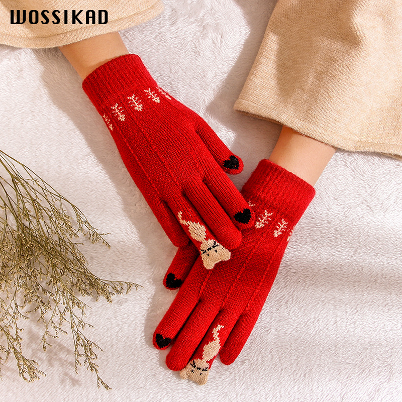 Glove Women Winter Touch Screen Gloves Thickening Knitting Wool  Luvas De Inverno Modis Guantes Mujer Invierno Couple Gloves