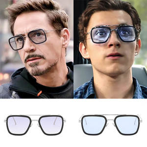 Sunglasses Men Avengers Square Retro Tony Stark Male Iron-3 Women Luxury Fashion Brand Design