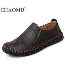 รองเท้าผู้ชายฤดูใบไม้ผลิและฤดูใบไม้ร่วงใหม่ผู้ชายธุรกิจ SLIP ON หนังกลางอายุและผู้สูงอายุหนังชายรองเท้าพ่อรองเท้าขนาด