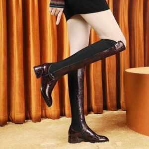 Image 2 - Krazingポットゴージャスなプリント牛革ストレッチラウンドトウハイヒールサイドジップ冬保温成熟した女性腿の高ブーツL23