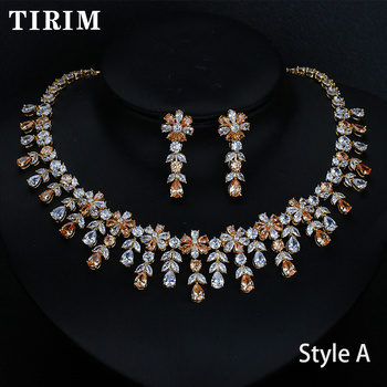 TIRIM For Women Wedding Party luxury Jewelry Sets Accessories Goose yellow Cubic Zircon Stud Earrings & Necklace Gift