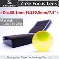Диаметр 38 1 мм США импортированный ZnSe CO2 лазерный объектив FL 190 5 мм для 3000 Вт mental станок для лазерной резки