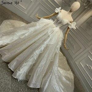 Image 3 - Szampana rocznika brokat luksusowe suknie ślubne 2020 Off ramię perły suknia ślubna spokojny Hill HA2315 Custom Made