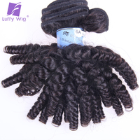 Bouncy Curly Human Hair Weaves 3 Bundles Funmi Hair Extensions Brazilian Remy Human Hair Weft Can Be Dyed And Bleached