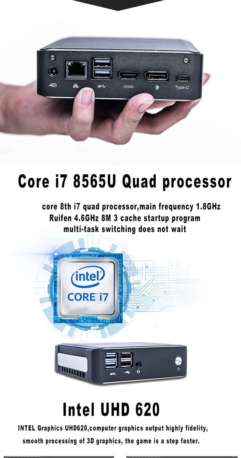 Mini PC with 8TH Gen Intel Core i7 8565U for Windows 10 pro with Fan 7