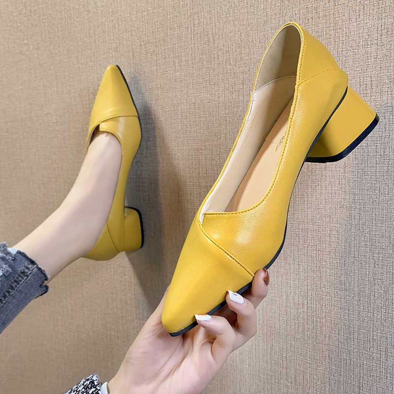 Womens Korean Square Toe Block Heel Solid Color Leather Simple wild Single Shoes