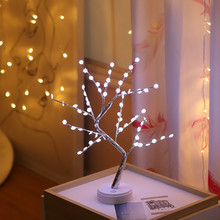 Christmas Tree Lights Garland Decorations For Home Led Fairy Night Light Bedside Study Table Lamp 108 Beads Battery USB Operated