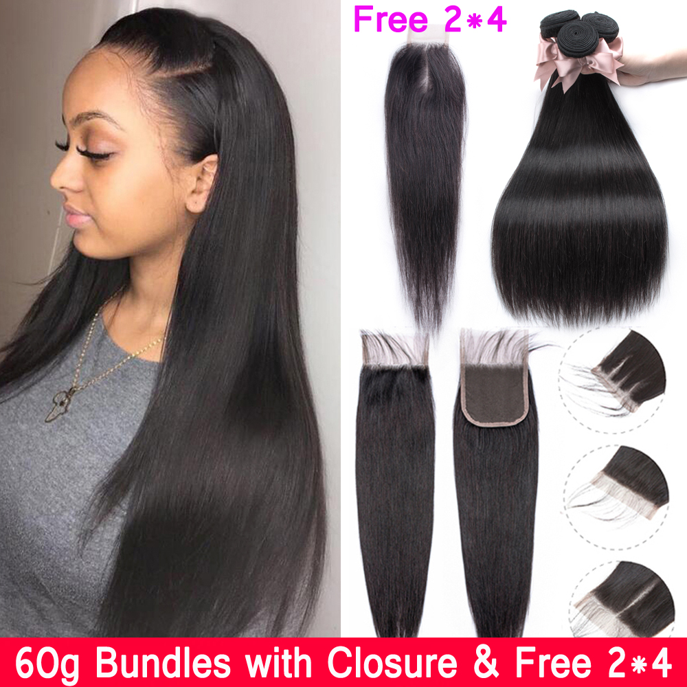 Beau Diva Brazilian Straight Hair Bundles With Closure 3 Bundles 60g Remy Human Hair Bundles With Closure 4*4 Lace Closure