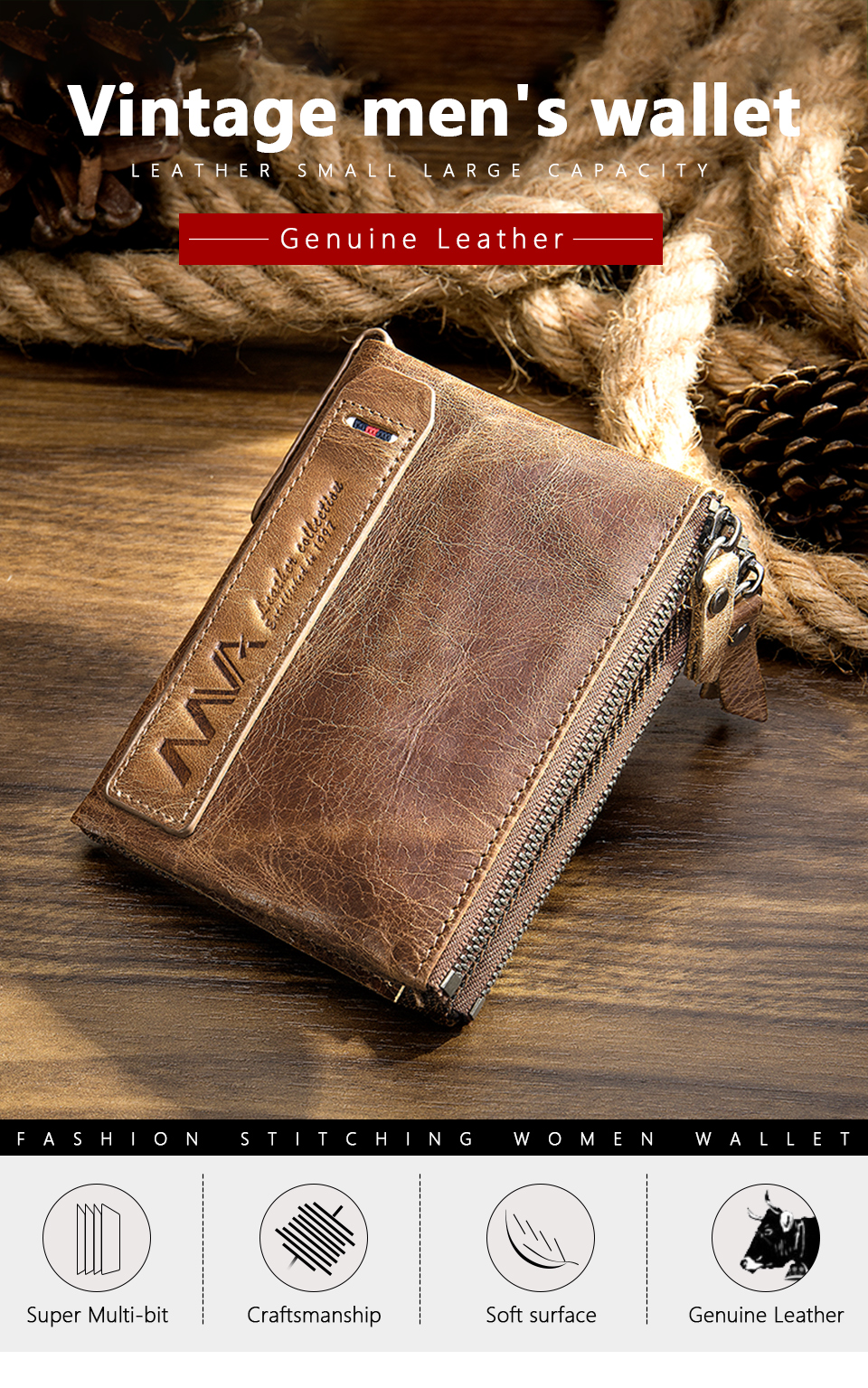 Men Wallet Genuine Leather Wallet Men With Coin Pocket Vintage Wallets Zipper Leather Purse For Man Crazy Horse Wallets Man 9050