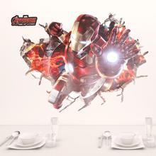 Дисней 3d эффект Железный человек Наклейки герои для детской комнаты Детская стены Искусство Наклейки Декор Мстители Обои DIY плакат