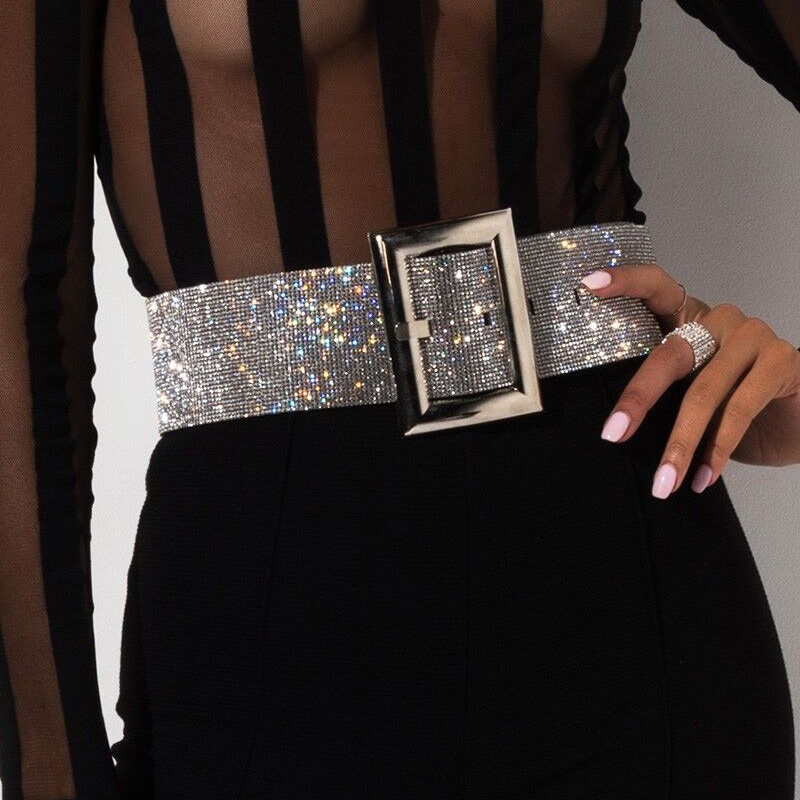 Women Girls Fashion Elegant Pearl Beads Rhinestones Charms Waist Belt Strap Gift
