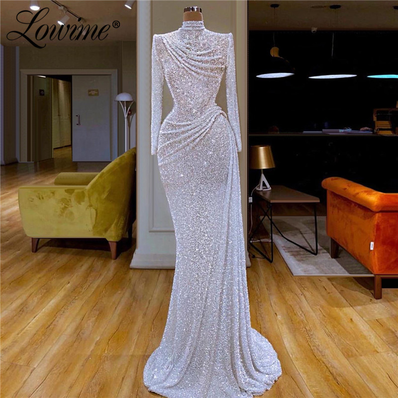 Elegant Formal Evening Dress Pleats High Neck Long Arabic Middle East Dresses Celebrity Prom Dress Dubai Kaftans Abendkleider