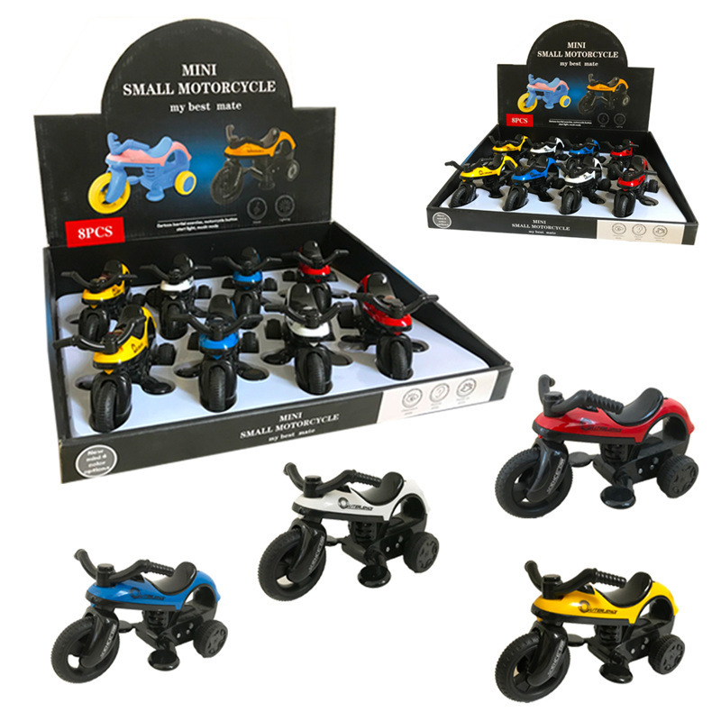 CHILDREN'S Toy Car Boutique Cartoon Furnishings Car Model Mini Motorcycle Sound And Light Inertia Motorcycle Toy
