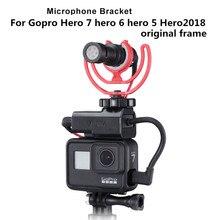 ไมโครโฟนอะแดปเตอร์สำหรับ GoPro 3.5 มม.อะแดปเตอร์เย็นรองเท้าขยาย Mount สำหรับ GoPro HERO 7 6 5 2018 กรณีเดิม Mounts