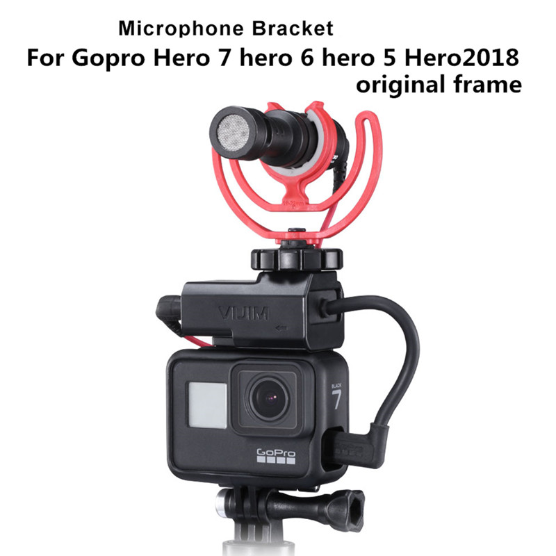 Microphone Mount Adapter For Gopro 3.5mm Mic Adapter Cold Shoe Extend Mount For Gopro Hero 7 6 5 2018 Original Case Mounts