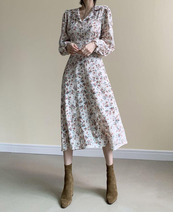 H1312dc9ba51d4338a75e7d9619a299b1C - Autumn Revers Collar Long Sleeves Floral Print Midi Dress