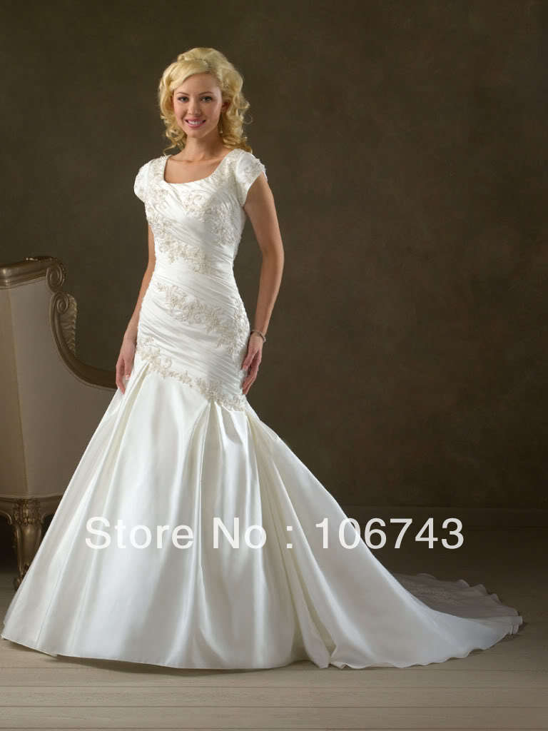 2017 Real Rushed Wrap Dress Free Shipping Modest Short Sleeves Fishtail/mermaid Bridal Gowns Bride Wedding Dresses Custom Size