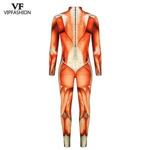 Image 5 - VIP Мода 2020 Хэллоуин косплей костюмы для мужчин женщин 3D атака на Титанов аниме напечатанные мышцы зентай Боди Комбинезоны