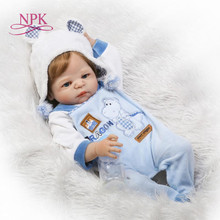 NPK 23 inch White skin Baby Dolls Realistic Full Silicone Vinyl Alive Girl Reborn Baby Doll For Children Gifts bonecas reborn