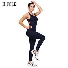 HIFOLK Jumpsuit Sets Fitness Clothing Women's One-pieces Sports Suit Set Workout Gym Fitness Jumpsuit Pants Sexy Halter Bodysuit