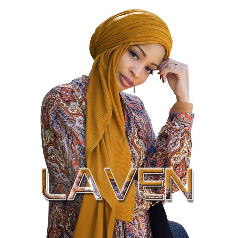 2019 NEW Muslim Ripple Jersey Hijab Turban Scarf Female Shawls And Wraps Islamic Headscarf Arab Cotton Head Scarf Hejab Stores