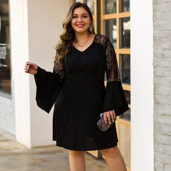 Women's Lace Stitching Dress Flare Sleeve Solid Color A-Line Plus Size Dress Ladies Sexy V-Neck High Waist Casual Dresses 1