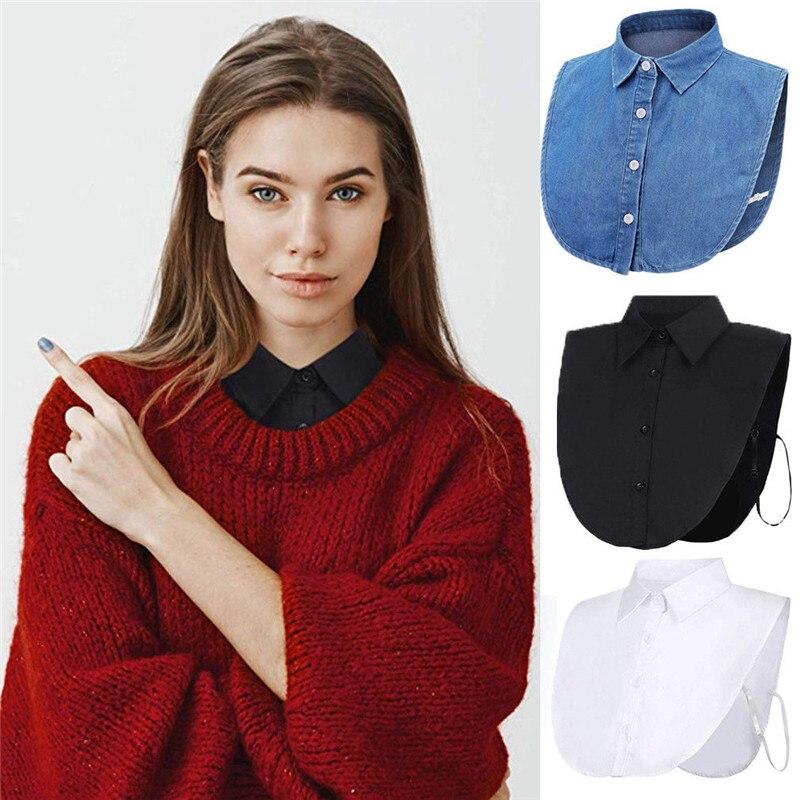 New Fashion Women Ladies False Fake Collar Half Shirt Blouse Vintage Detachable Collar Shirt Fake Collar Lapel Top Accessories
