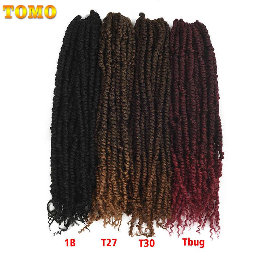 """TOMO 18 """"22 корня предварительно твист страсть твист вязанные крючком волосы предварительно петлевые пушистые вязанные крючком косы волосы Омбре синтетические плетеные волосы ткет"""
