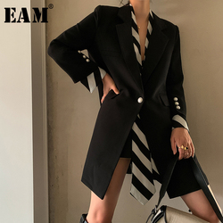 [EAM]  Women Black Striped Printed Stitch Long Blazer New Lapel Long Sleeve Loose Fit  Jacket Fashion Spring Autumn 2020 1W479