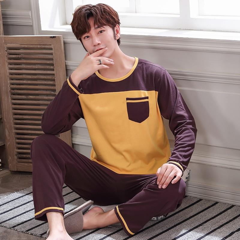 Spring Cotton Solid Pajama Sets Male Sleepwear Long Sleeve Pajamas Pijama Hombre Plus Size L - 4XL Pyjamas Men Pajamas Homewear
