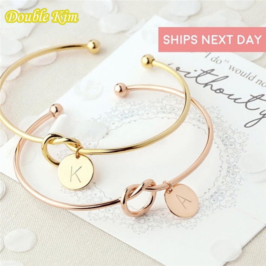 Bracelet 26 Letters Open Knot Cuff Bangle Bracelets for Girlfriends A-Z Charm Bracelets Gold Color Opening Jewelry Pulseiras