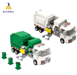 BuildMoc Technical Green White Car Garbage Truck City Cleaner Children Diy Toy Building Blocks New Year Gift Model Set