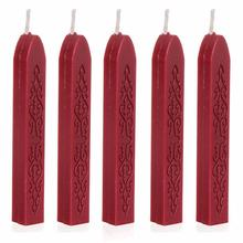 5Pcs Wine Red wax Manuscript Sealing Seal Wax Sticks Wicks F