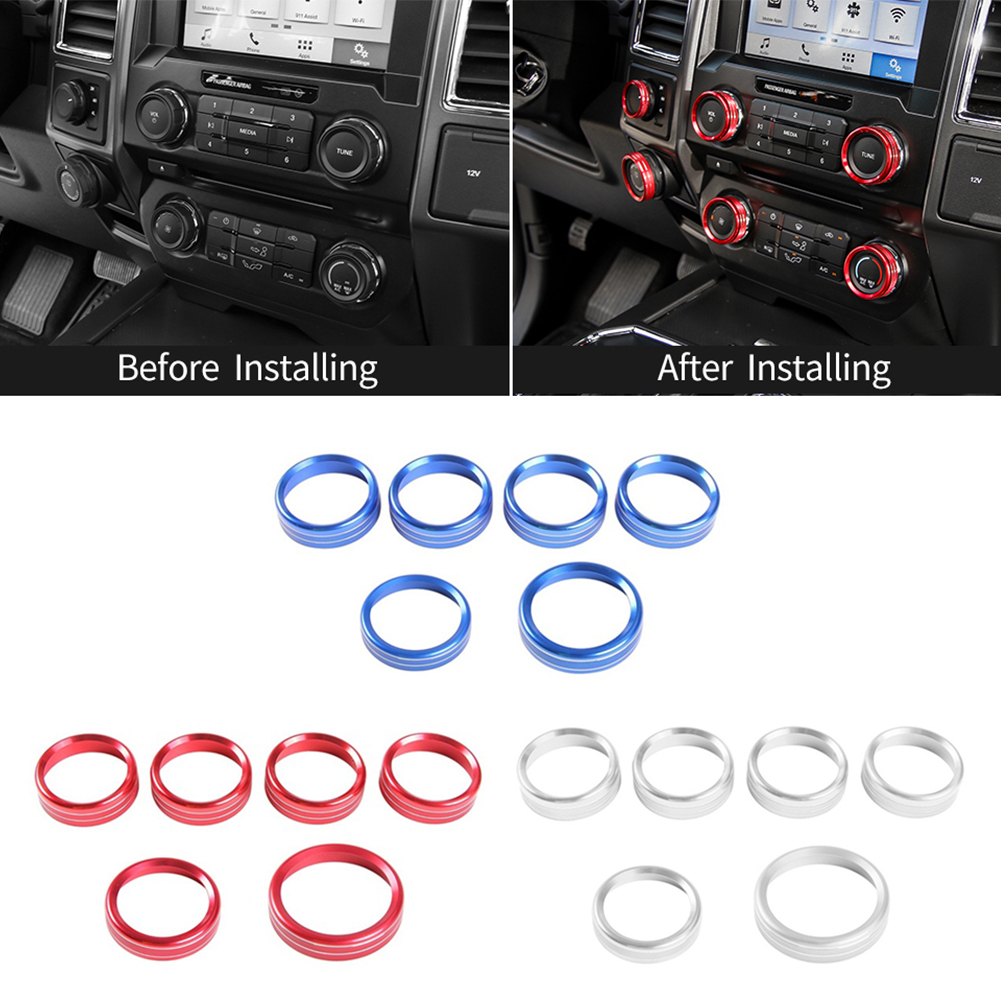 Aluminum Alloy Car Inner Headlight Lamp Adjust Control Knob Ring Blue Headlight Switch Knob Cover Ring Trim for Ford F150 XLT 2016 2017 /& Mustang 2015 2016