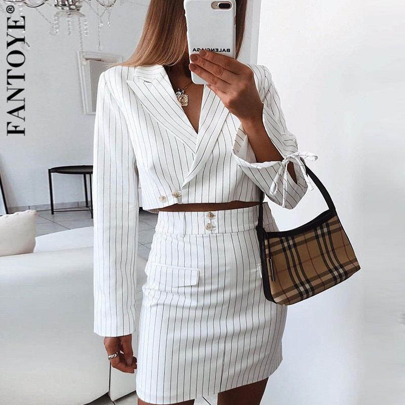Fantoye 2019 Fashion Striped Two Piece Set Dress Women Sexy Lace Up V Neck Cropped Jackets And Skirts Womens Elegant Office Suit