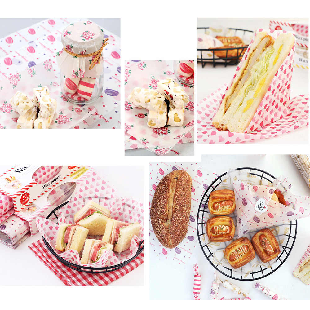 50Pcs//Lot Food Grade Grease Paper For Bread Sandwich Burger Baking Tools mz