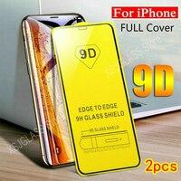 Película de vidro temperado 9d, 2 peças, protetor de tela para iphone 11, 12, mini pro max, x, xr, xs, max, 6 s, 7, 8 plus, se2020, cobertura completa