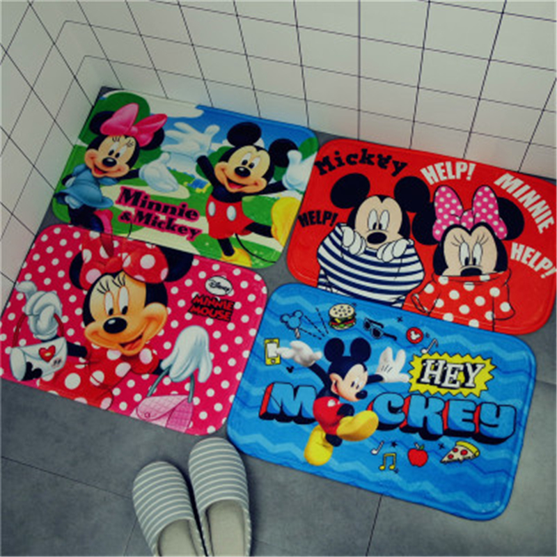38*58CM Disney Cartoon Minnie Mickey Mouse  Door Mats Flannel Coral Velvet Carpet Non-slip Entrance Indoor Floor Rug