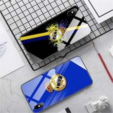 Real madrid club caso de telefone vidro por atacado para iphone x xs xr 12 mini 6s 7 8 plus 11 12 pro max xr capa traseira