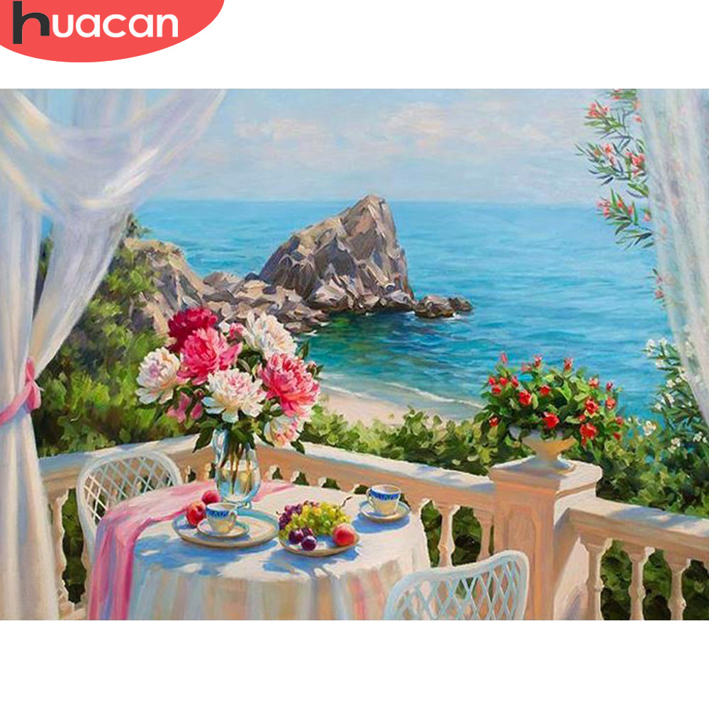HUACAN Full Drill Square Diamond Painting Landscape  5D DIY Diamond Embroidery Flowers Home Decoration Sea Picture Of Rhinestone