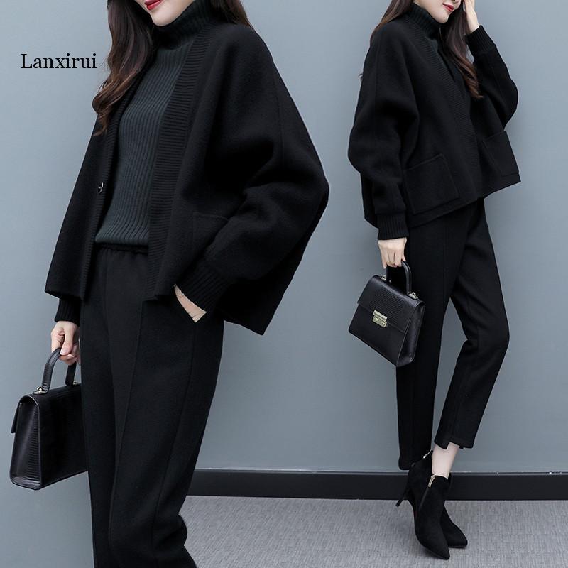 Lanxirui Large Size Two Piece Set Top And Pants Clothes For Women Woolen Women's Suit Ensemble Femme