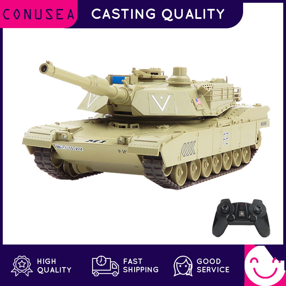CONUSEA RC Tank Battle Caterpillar 2.4G Radio Controlled Car World of Tanks Leopard 2 M1 Rotating Turret RC Truck Toys for Boy
